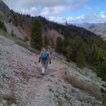 Ann hiking out just below the lake.