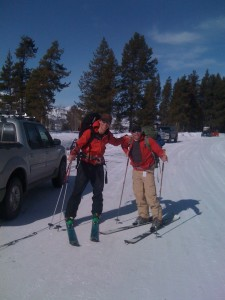 Exum guide, Aaron Dahill with me as we head for Mt. Moran, (last trip on the Rossi Scratch skis).