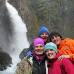 Taylor, Tori, Ann and Cody at the foot of Drift Creek Falls