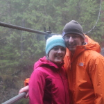 Taylor and Tori on the suspension bridge overlooking Drift Creek Falls.