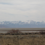 Looking east from the island towards the Wasatch Range.